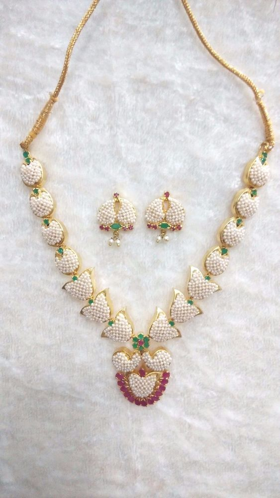 Indian Necklace Bollywood Set Ruby Cutting Emerald Pearl Ethnic Traditional  #SparshJewels
