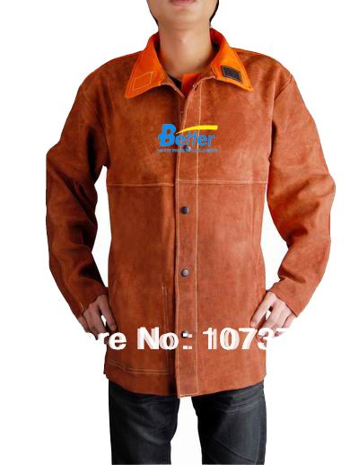 Cow Leather Welding Apron Orange Flame Retardant Back  Coffee Leather Welding Jacket
