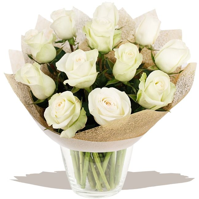 A Dozen Classic White Roses  A classic dozen white Roses, selected and arranged to order by our florists experts. A beautiful fresh bouquet that's sure to delight. #wedding #flowers