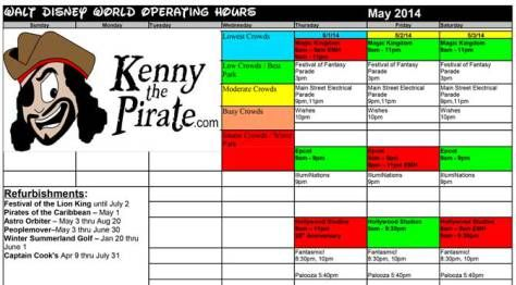 may 2014 disney world crowd calendar kennythepirate