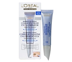 Inspired by dermatological collagen treatments and specifically formulated for the delicate skin around the eyes, L'Oréal Paris created Collagen Filler Eye Illuminator, the first eye product with Collagen Biospheres to diffuse and visibly fill crow's-feet and expression lines. It also contains light-diffusing Diakalyte technology, which minimizes the look of dark circles and evens the eye contour.In consumer testing, crow's-feet decreased by 20% after four weeks, and 68% saw dark circles…