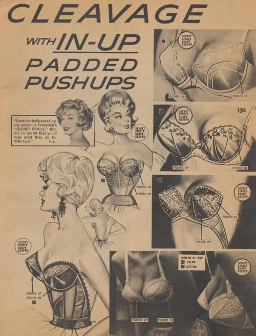 """Ad for """"In-Up"""" padded push up bras by Frederick's of Hollywood, 1960s."""