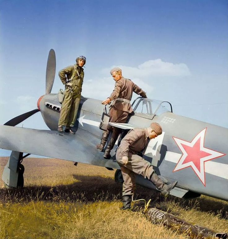 "Lt. Robert Roger Marchi standing on his Yakovlev Yak-3 of the Free French ""Normandie-Niemen"" 1st Squadron. GCIII Normandie (Groupe de Chasse) No.III East Prussia, March 1945 Robert Marchi Born July..."