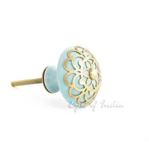 BLUE-ROUND-CERAMIC-DOOR-DRESSER-CABINET-HANDLES-CUPBOARD-KNOBS-PULLS-Decorative
