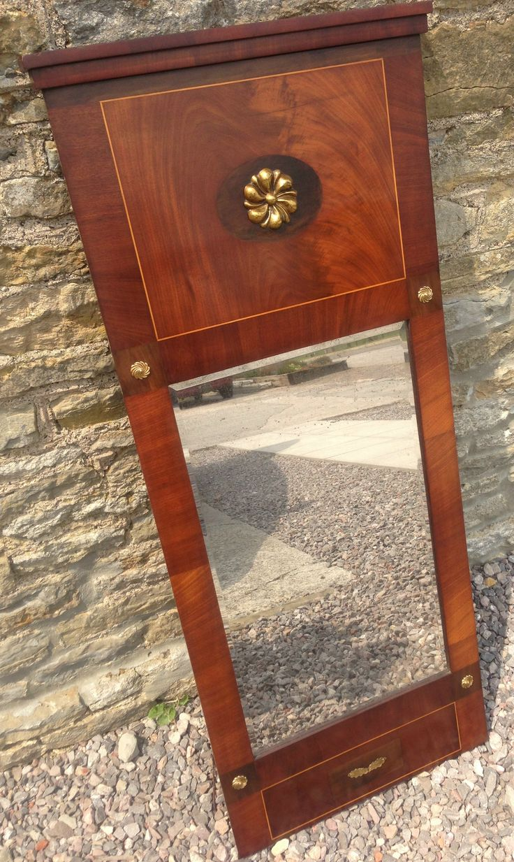 "NOW SOLD! Swedish Mahogany & Ebonised Pier Glass with gilt brass mounts and original beveled plate, 47"" x 19 3/4"".http://www.domani-devon.com/stock/mirrors/19th-century-swedish-pier-glass"