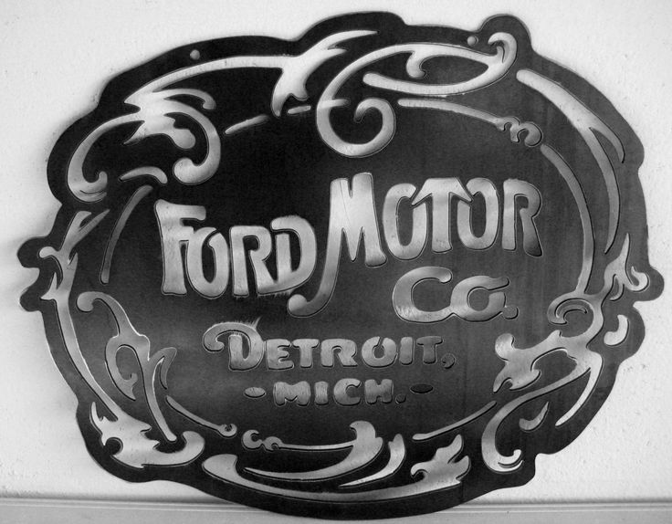 Original Ford Motor Co Logo Steel Sign Garage Art Nouveau Style Handmade Custom Metal Art Plasma Cut. $65.00, via Etsy.