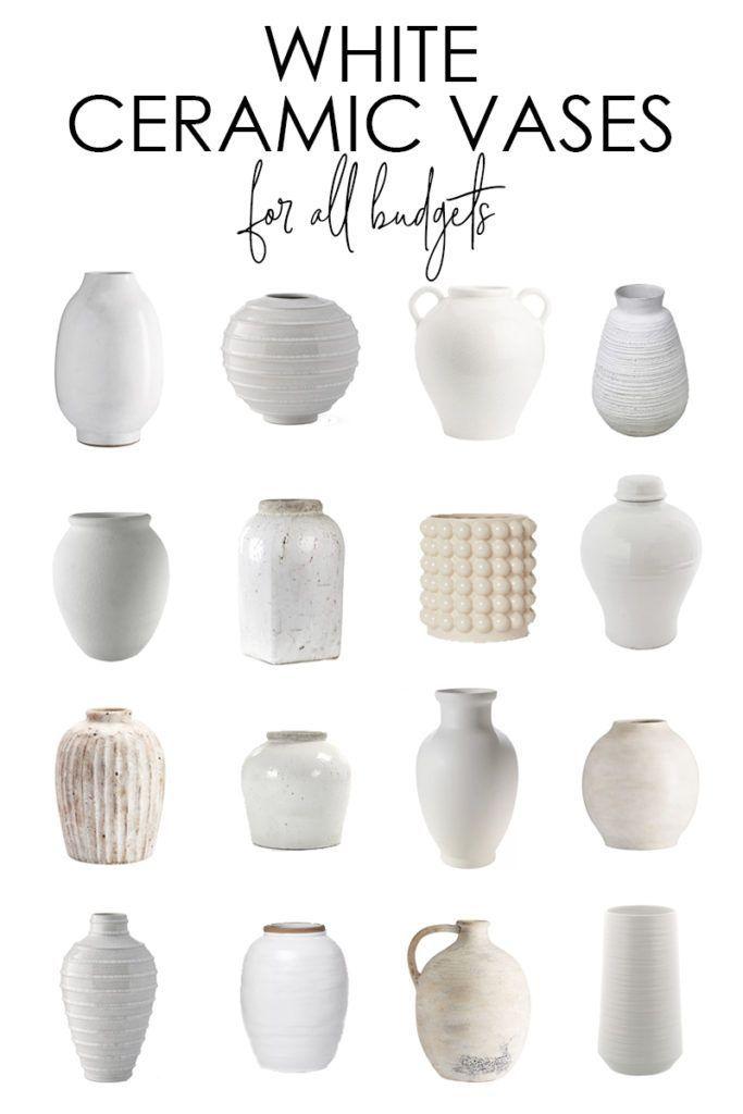 White Ceramic Vase Options Decorating Ideas In 2020 White Ceramic Vases White Vase Decor Ceramic Vases Decor