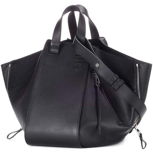 Loewe Hammock Leather Tote ($2,660) ❤ liked on Polyvore featuring bags, handbags, tote bags, handbags totes, genuine leather handbags, genuine leather purse, real leather handbags and leather tote handbags