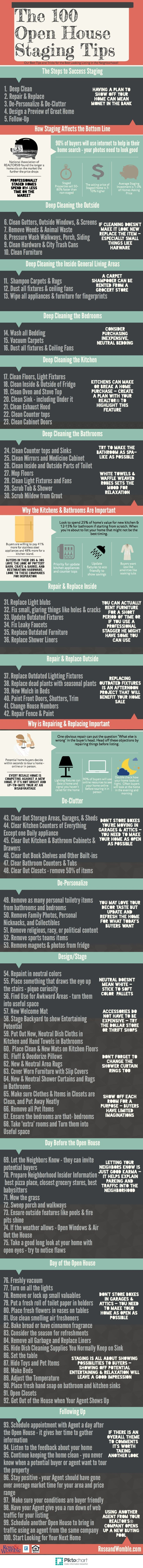 100 Open House Staging Tips #RealEstat #Infographic real estate investing, investing in real estate