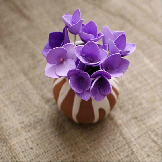 Purple Foam Flowers 6 pcs Mixed Flower Jewelery making