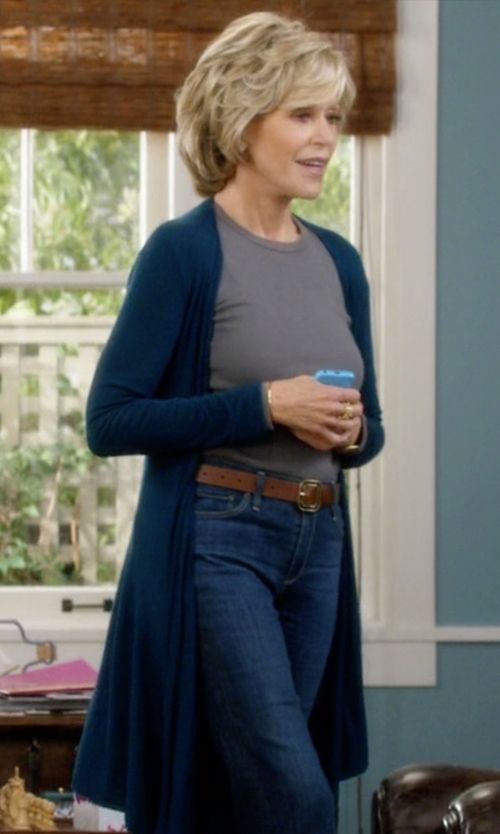 Jane Fonda with BCBGMAXAZRIA Pamella Mixed Gauge Cardigan in Grace and Frankie