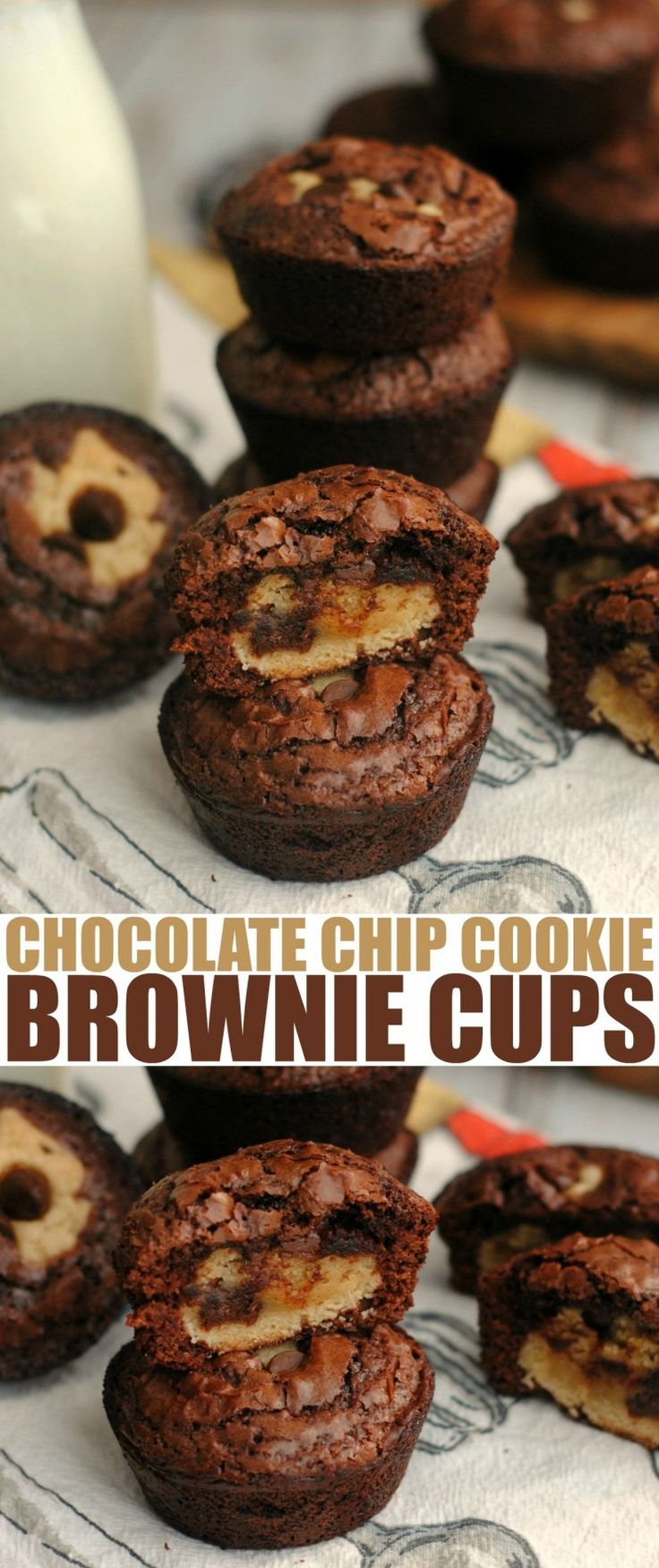 These Chocolate Chip Cookie Brownie Cups combine the best of two dessert recipe classics to create one unforgettable dessert.