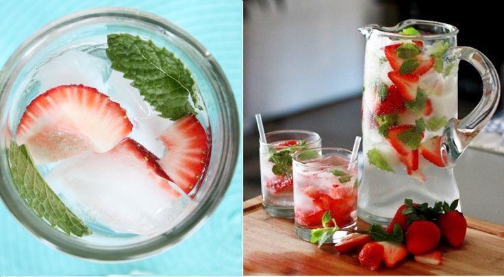 Eau aromatisée au melon d'eau, à la fraise et à la menthe!
