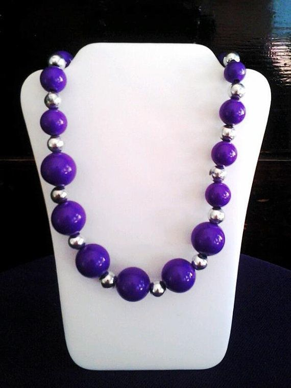 Purple and silver necklace costume jewelry 20 by streetcrossing
