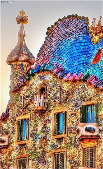 the tile could possibly be the solar kind on the tiny house, Casa Batlló, Barcelona, España