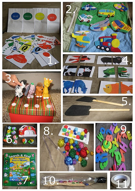 Toddler Busy Bags.  I love the idea of using a cookie sheet for magnet games like those from Leap Frog.  No more tripping over toddlers while I'm making supper!