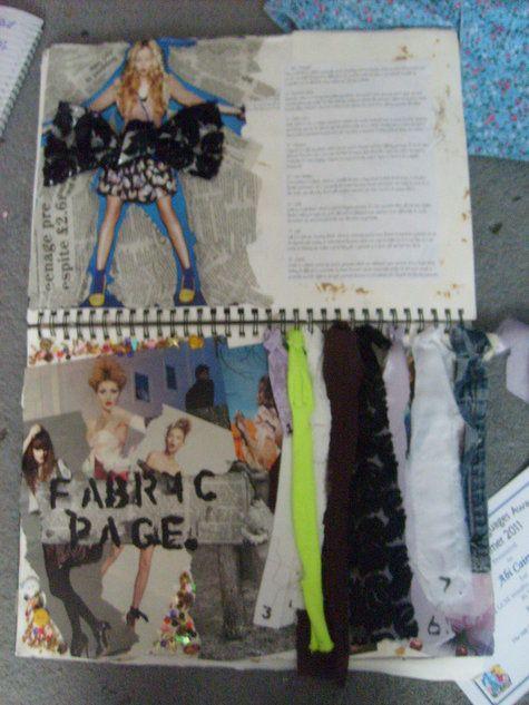 Fashion Sketchbook - fabric page, fashion design ideas & development; fashion student folio