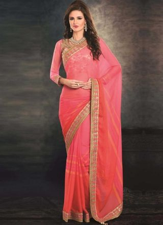Pink Tomato Red Embroidery Work Georgette Jacquard Party Wear Designer Sarees http://www.angelnx.com/Sarees/Party-Wear-Sarees