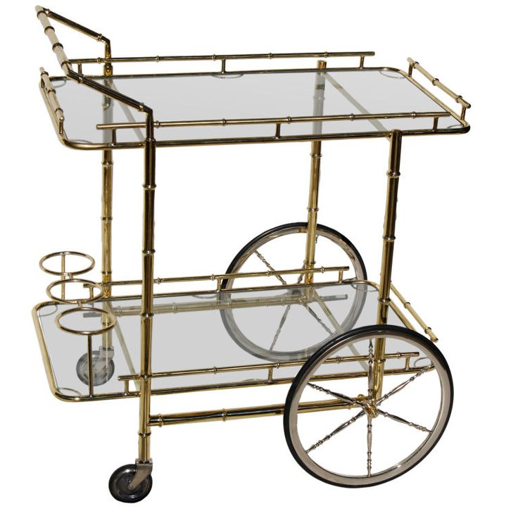 "1stdibs | Brass+""Bamboo""+Barcart+with+Polished+Steel+Wheels."