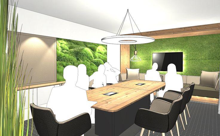 Greenery - Ein Konferenzraum mit vielen natürlichen Materialen verspricht Wohnlichkeit. Helles Holz und viel Grün, auch an den Wänden, bringt Natur in den Arbeitsalltag.