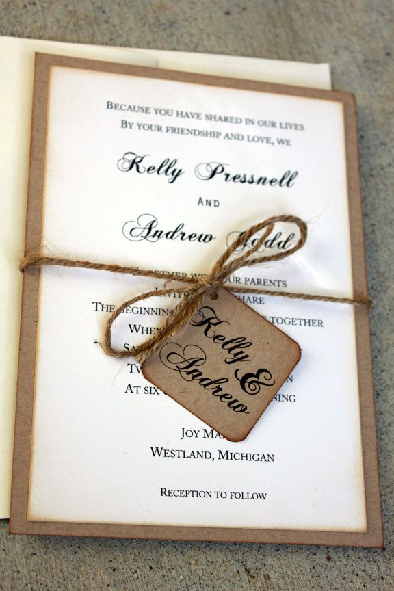 Rustic Wedding Invitation Set, Rustic Wedding, Vintage Wedding, Rustic and Kraft Wedding Invitations, Shabby Chic Wedding Invitations. $4.00, via Etsy.