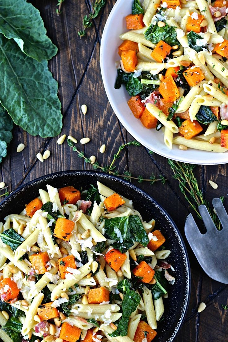 Fall pasta salad - Roasted Butternut Squash And Kale Penne Pasta Yum A Perfect Fall And Winter Dish