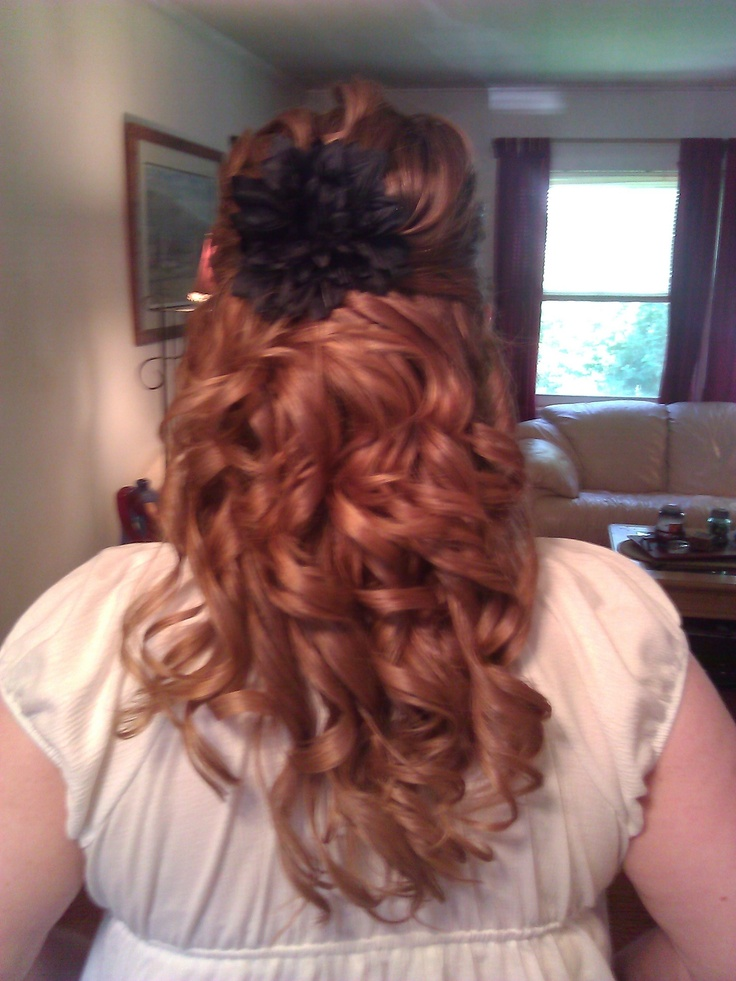 my normally poker-straight hair styled for a wedding we went to..