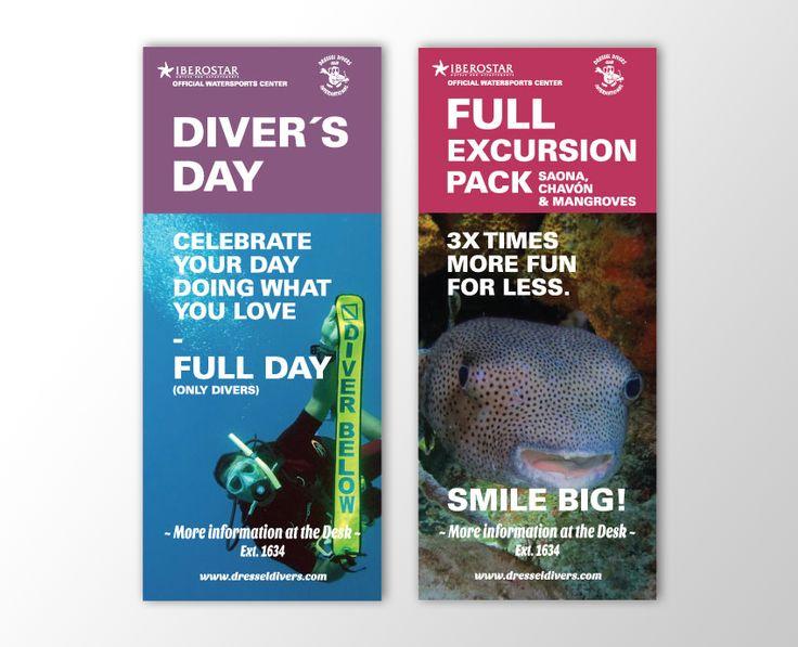 Trabajos para #Dressel Divers - #buceo #diseño #grafico #flyer #banner #catalogo #experiencias #vivencias #excursiones #acuatico