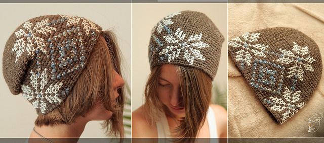 crochet hat with embroidery, hat, ladies, knitted crochet, embroidery, folk
