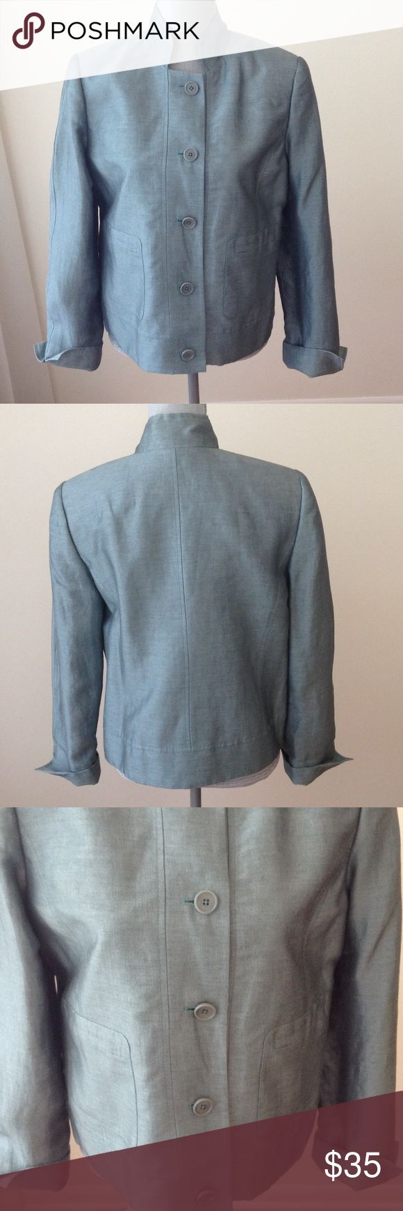 """Dark Sea Foam Green Nehru Style Jacket Pre-Loved condition with lots of life left! 2 front patch pockets. 5 front button closure. Measures approximately 22.5"""" from nape to bottom of hem, and 23"""" from armscye to Sleeve hem. 87% linen, 13% nylon; lining is 100% acetate. Dry clean only. Linda  Allard Ellen Tracy Jackets & Coats Blazers"""