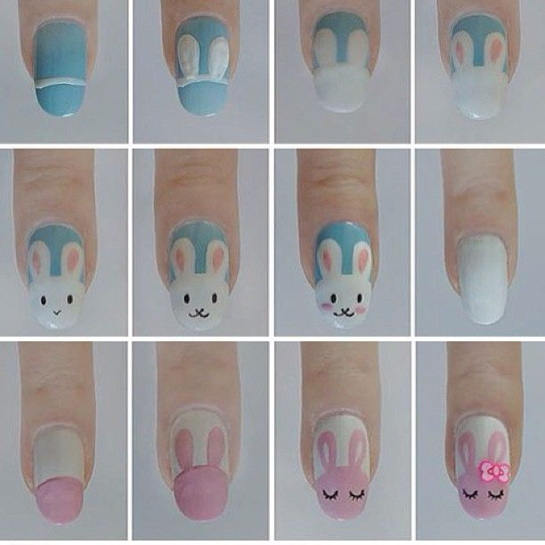 """Easter nails tutorial - learn how to draw cute rabbits"" My mom asked me today if I would paint something similar to this on her nails. I said, that's a lot of work haha"
