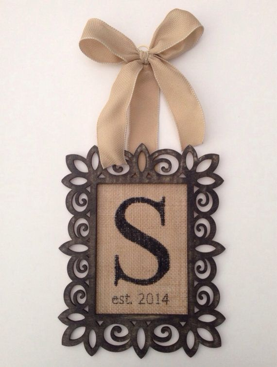 Hand painted burlap mounted on a Distressed stained wood frame. Detailed with a single Initial and the established date. Hangs from burlap