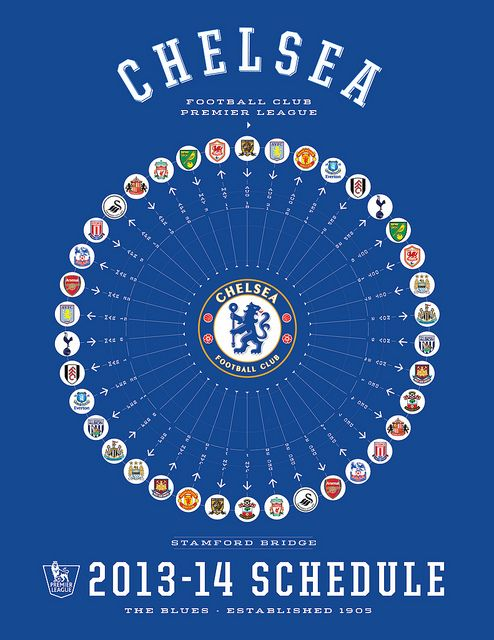 Chelsea FC 2013-14 EPL Full Schedule
