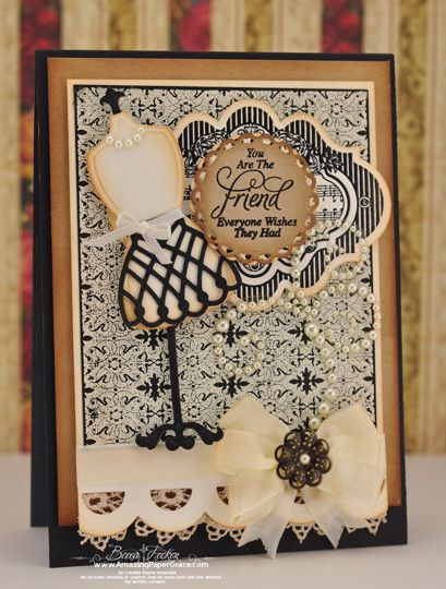 Gorgeous card designed by Becca Feeken using the following JustRite Stamps -Vintage Wallpaper Stamp, Old Friends, Musical Notes Labels Twenty with Spellbinders new S4-068 Dress Form dies!!