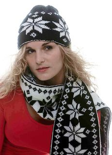 double knit snowflake scarf and hat