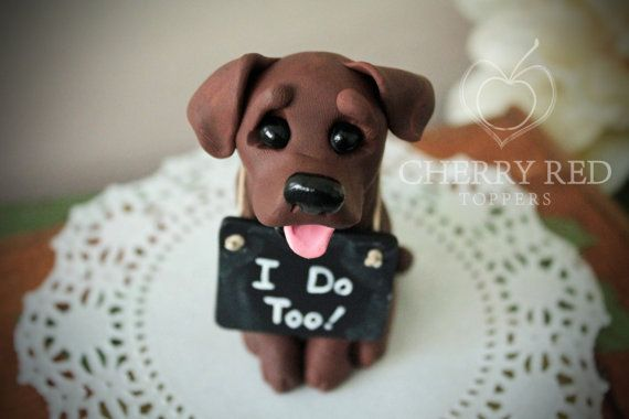Chocolate Lab Wedding Cake Topper - Made To Look Like Your Pet - With Chalkboard Sign