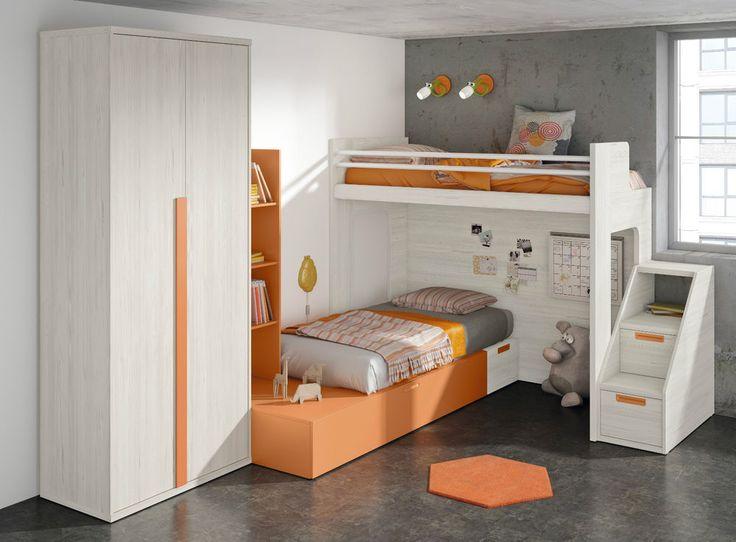 Komplett Kinderzimmer Hochbett Kleiderschrank Stauraum Bett Treppe in 32 Farben in Möbel & Wohnen, Kindermöbel & Wohnen, Möbel   eBay