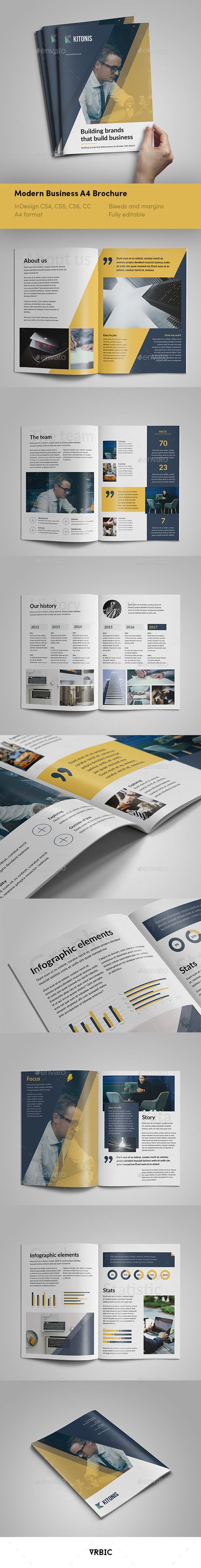 Modern Business A4 Brochure - #InDesign Template - #Brochures Print Templates