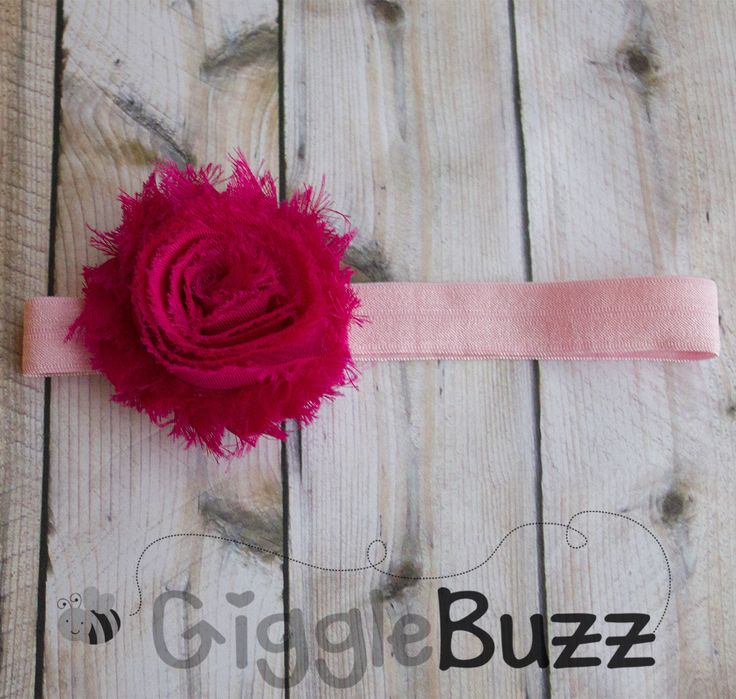 Pink on Pink Shabby Headband-newborn headband, pink, infant headband, stretchy headband, head band, flower headband, fabric flower headband,...