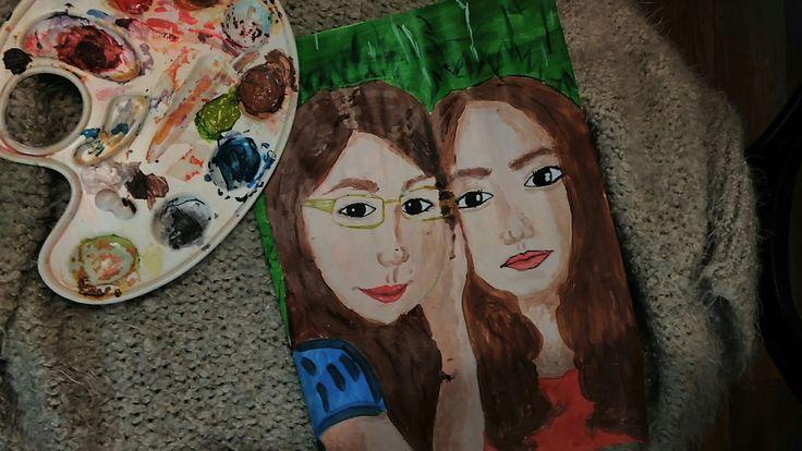 #сестры #палитра #рисунок #акрил #портрет #фон #белый