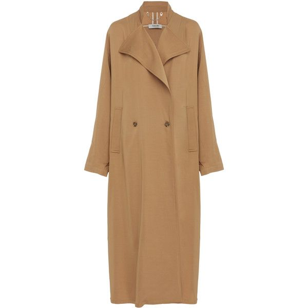 Rachel Comey Oversized Trench Coat (£590) ❤ liked on Polyvore featuring outerwear, coats, brown, trench coat, lightweight coat, tan trench coat, brown double breasted coat and rachel comey