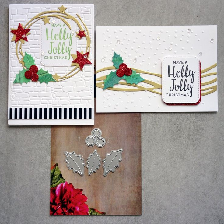 PAPER ROSE DIE Stitched Holly & Berries