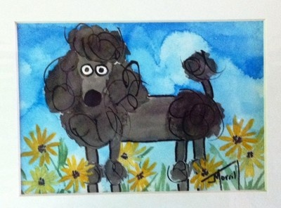Funny Black Poodle - original acrylic painting