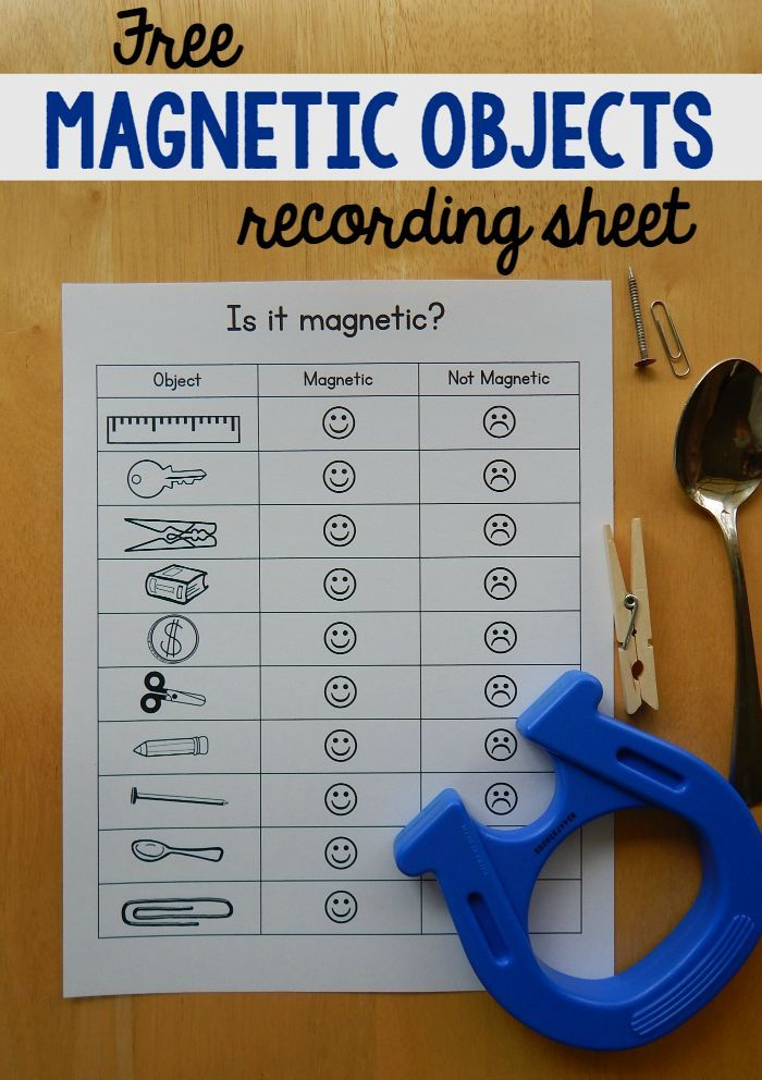 If you're doing magnet experiments with kids, print this free magnet worksheet to keep track of which objects are magnetic.