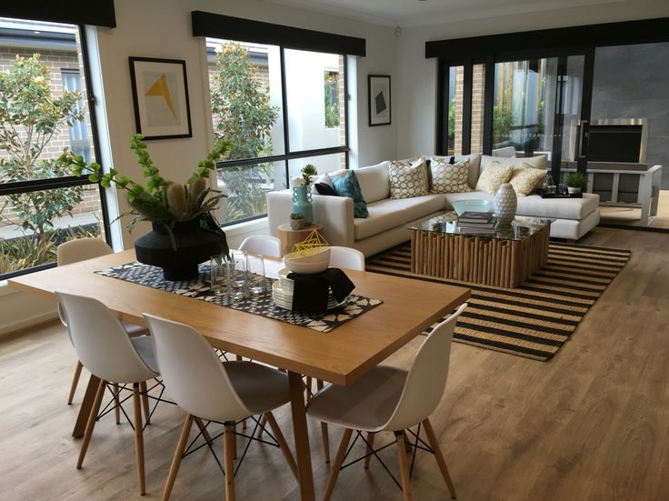 Living and dining styling. Blakeview display homes. Metricon
