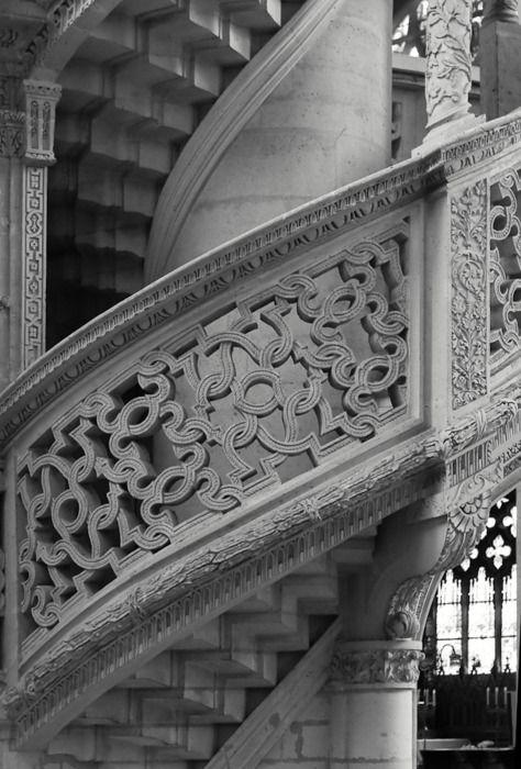 Fine stone work of the choir screen, Saint-Étienne-du-Mont, Paris, France
