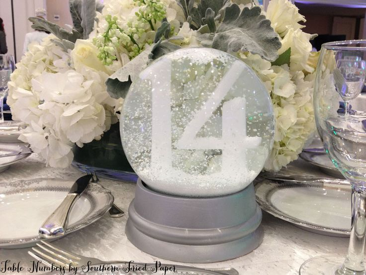 Snow Globe Table Number by Southern Fried Paper, so cute! Wonder what happens if you put the globe music boxes all playing the same song at least on a few table and have the guests timed to play them when the couple enters the reception, OR before cake cutting, toasts whatever, might be sweet might be a disaster!