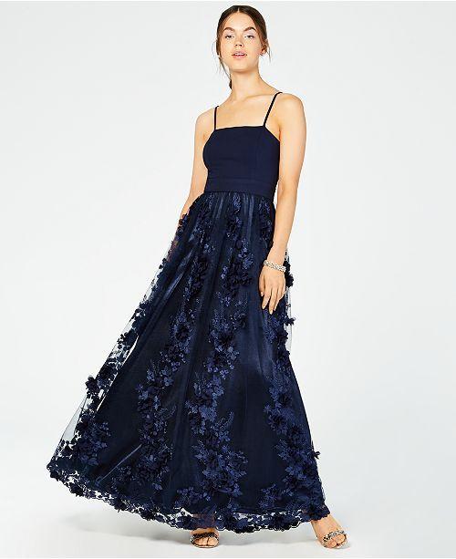 b786dcb8b2a Trixxi Juniors  Strapless Flower-Petals Gown - Blue 1
