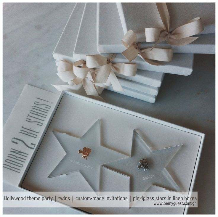 luxury events | twins christnening invitations | Hollywood theme party | plexiglass stars in linen box | designed by www.bemyguest.com.gr