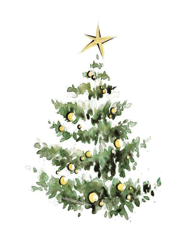 Christmas Tree Watercolor In 2020 Christmas Tree Painting Christmas Paintings Watercolor Christmas Cards